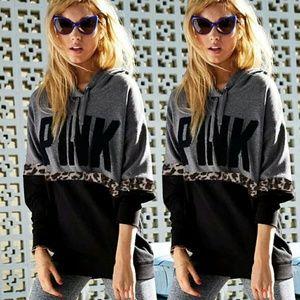 BNIP gray pullover hoodie says pink